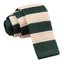Green & Cream Striped Knitted Skinny Tie