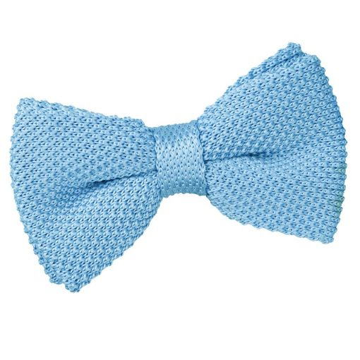 Baby Blue Knit Knitted Pre-Tied Bow Tie