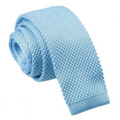 Baby Blue Knitted Skinny Tie