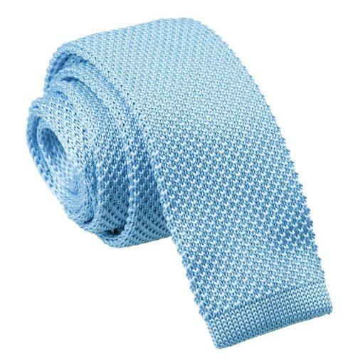 Baby Blue Knitted Slim Tie & Pocket Square Set