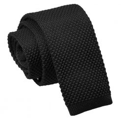 Black Knitted Skinny Tie