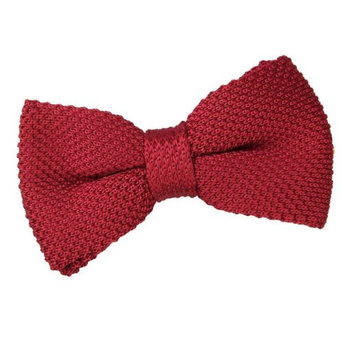 Burgundy Knit Knitted Pre-Tied Bow Tie