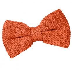 Burnt Orange Knit Knitted Pre-Tied Bow Tie