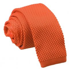 Burnt Orange Knitted Skinny Tie
