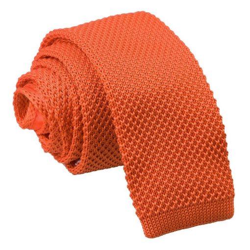 Burnt Orange Knitted Skinny Tie