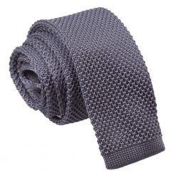 Charcoal Knitted Skinny Tie