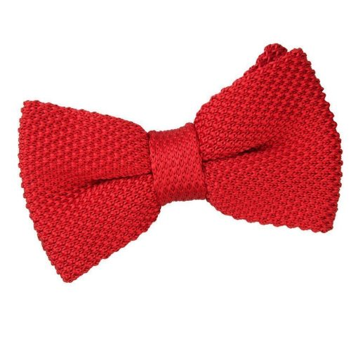 Crimson Red Knit Knitted Pre-Tied Bow Tie