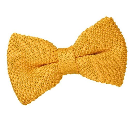 Marigold Yellow Knit Knitted Pre-Tied Bow Tie