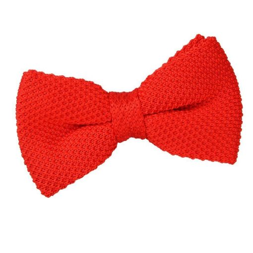 Red Knit Knitted Pre-Tied Bow Tie