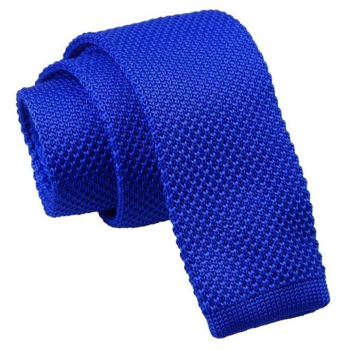 Royal Blue Knitted Slim Tie & Pocket Square Set
