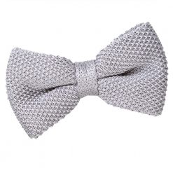Silver Knit Knitted Pre-Tied Bow Tie