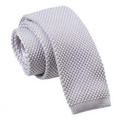 Silver Knitted Skinny Tie