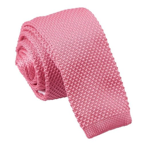 Strawberry Pink Knitted Skinny Tie