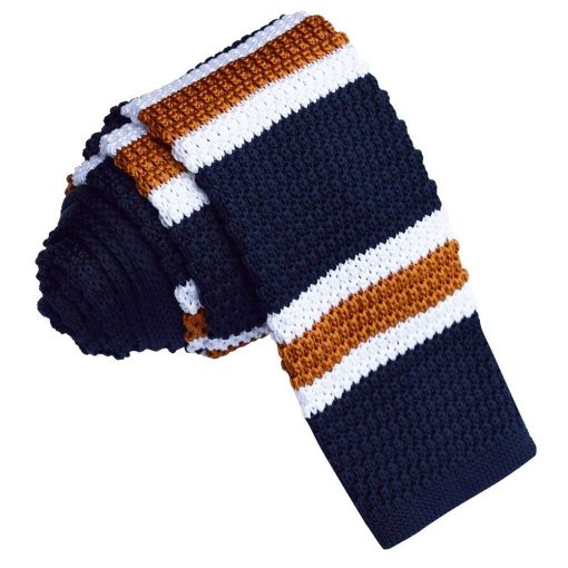 Navy with White & Copper Stripe Knitted Skinny Tie