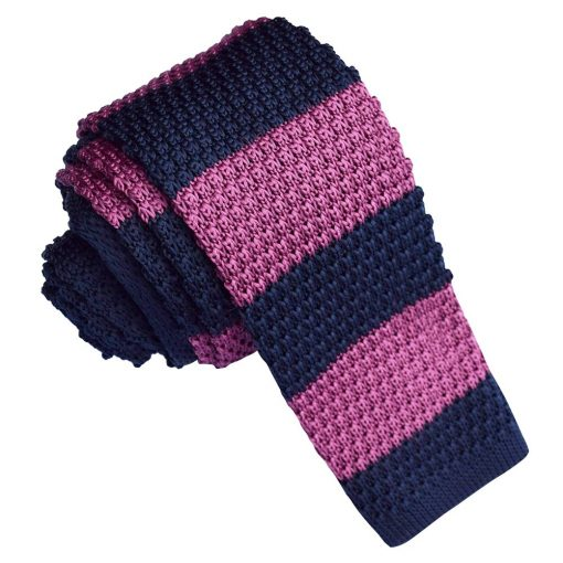 Navy Blue & Plum Striped Knitted Skinny Tie