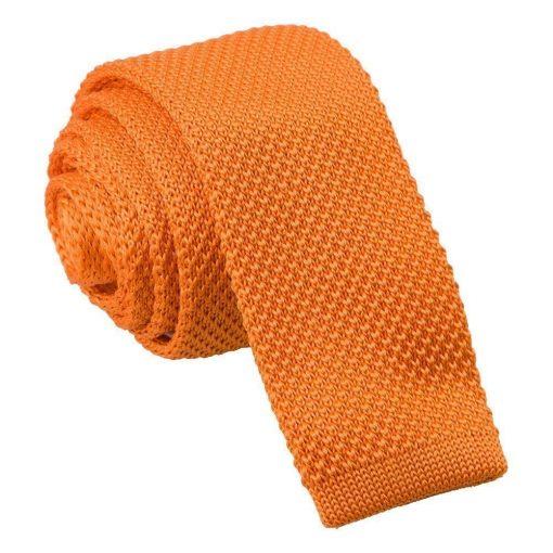 Tangerine Knitted Skinny Tie