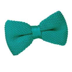 Teal Knit Knitted Pre-Tied Bow Tie