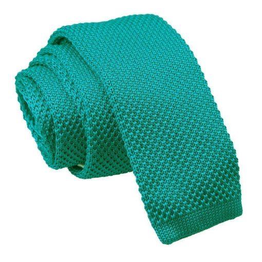 Teal Knitted Slim Tie & Pocket Square Set