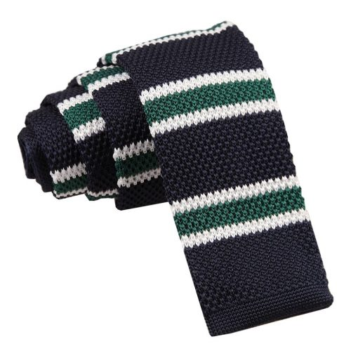 Navy, Green with White Thin Stripe Knitted Skinny Tie