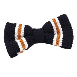 Navy with Orange & White Thin Stripe Knit Knitted Pre-Tied Bow Tie