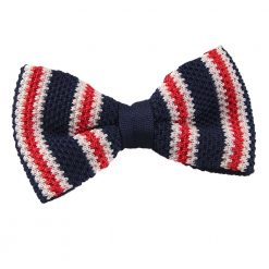 Navy with Red & White Thin Stripe Knit Knitted Pre-Tied Bow Tie