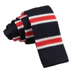 Navy, White with Red Thin Stripe Knitted Skinny Tie