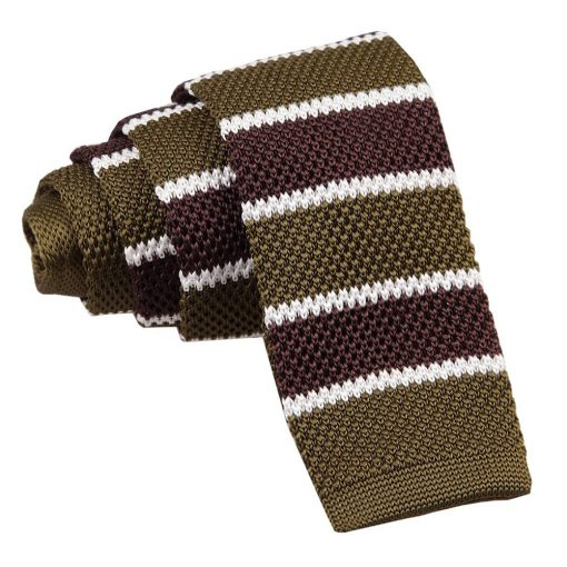 Olive Green, Brown with White Thin Stripe Knitted Skinny Tie