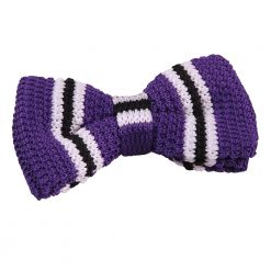 Purple with Black & White Thin Stripe Knit Knitted Pre-Tied Bow Tie