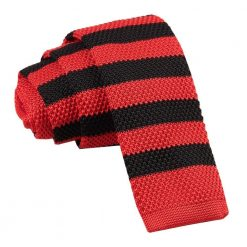 Red & Black Striped Knitted Skinny Tie