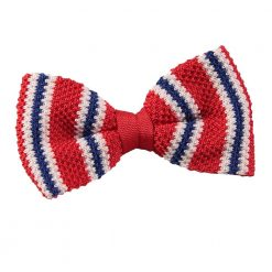 Red with Blue & White Thin Stripe Knit Knitted Pre-Tied Bow Tie