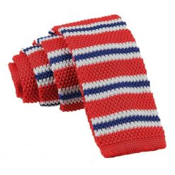 Red with Blue & White Thin Stripe Knitted Skinny Tie