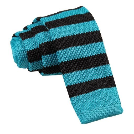 Robin's Egg Blue & Black Striped Knitted Skinny Tie