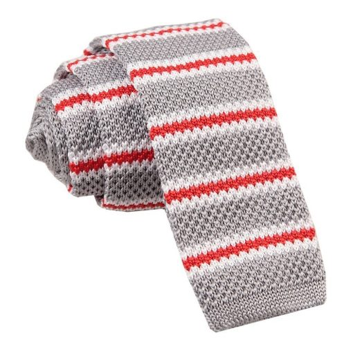 Silver with Red & White Thin Stripe Knitted Skinny Tie