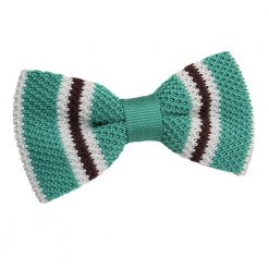 Teal with Brown & White Thin Stripe Knit Knitted Pre-Tied Bow Tie