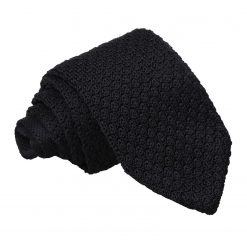 Black Grenadine Knitted Silk Slim Tie