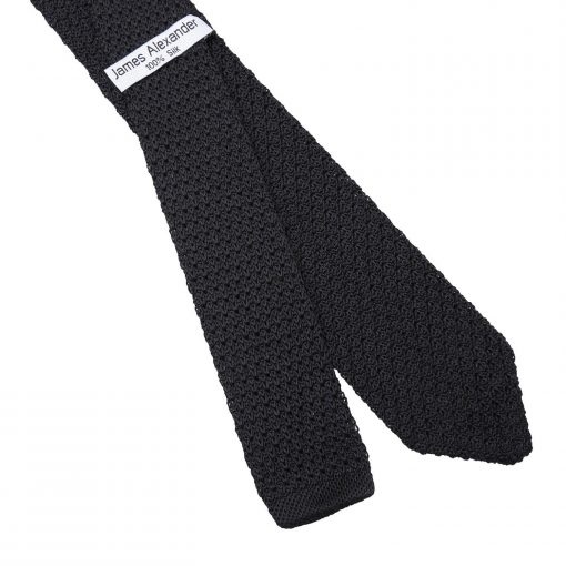 Black Grenadine Knitted Silk Slim Tie