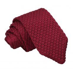 Burgundy Grenadine Knitted Silk Slim Tie