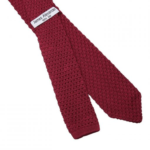 Burgundy Grenadine Knitted Silk Slim Tie