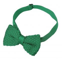 Emerald Green Grenadine Knitted Silk Pre-Tied Bow Tie