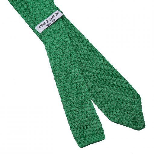 Emerald Green Grenadine Knitted Silk Slim Tie