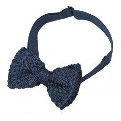 Navy Blue Grenadine Knitted Silk Pre-Tied Bow Tie