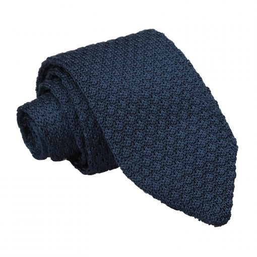 Navy Blue Grenadine Silk Knitted Slim Tie