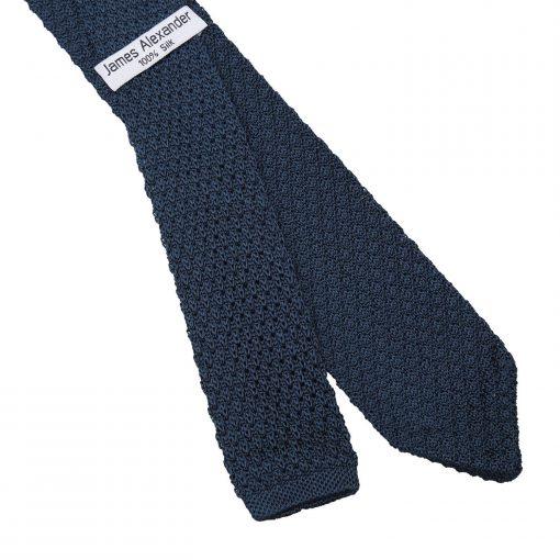Navy Blue Grenadine Knitted Silk Slim Tie