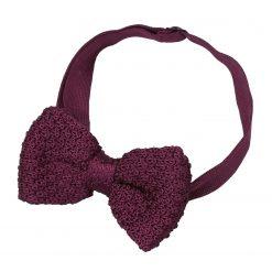 Plum Grenadine Knitted Silk Pre-Tied Bow Tie