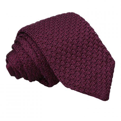 Plum Grenadine Knitted Silk Slim Tie