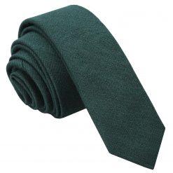 Bottle Green Ottoman Wool Skinny Tie