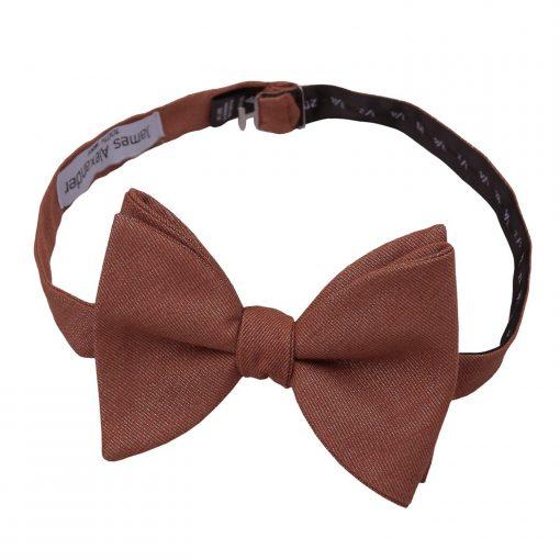 Brown Ottoman Wool Butterfly Self Tie Bow Tie