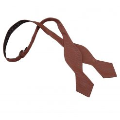 Brown Ottoman Wool Pointed Self Tie Bow Tie