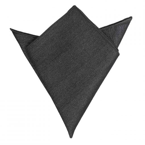 Charcoal Grey Ottoman Wool Pocket Square