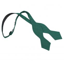Hunter Green Ottoman Wool Pointed Self Tie Bow Tie